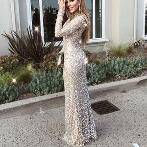 Parker Black Sequin Leandra Gown in Silver & Nude